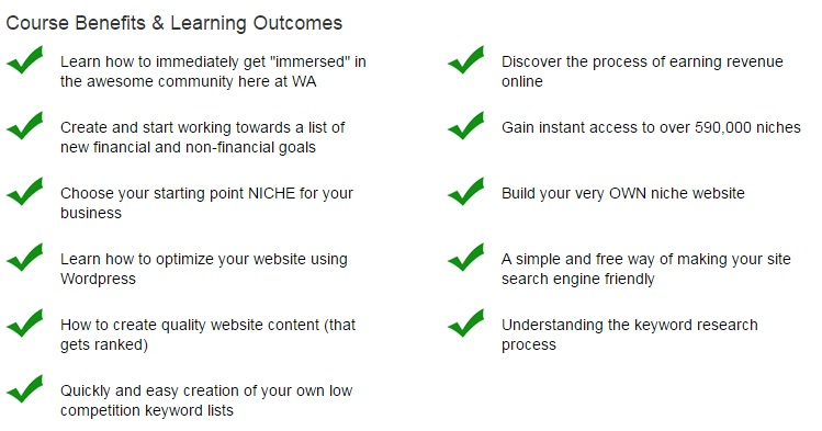 Wealthy Affiliate Review 2020 - Course Benefits
