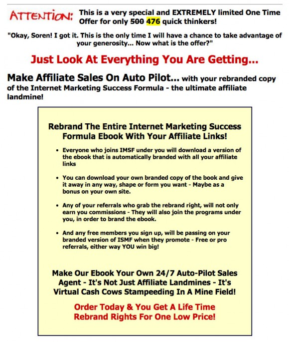 Internet Marketing Success Formula Rebranding E-book offer