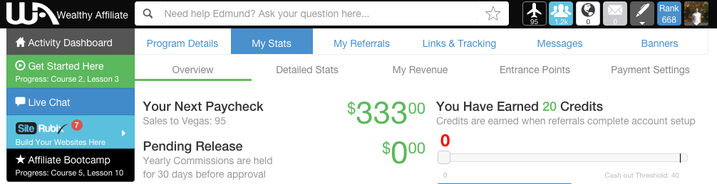 Wealthy Affiliate Income Proof - Edmund