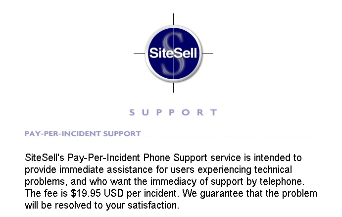 SiteSell Support - Fee