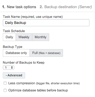 ManageWP - Backup Task