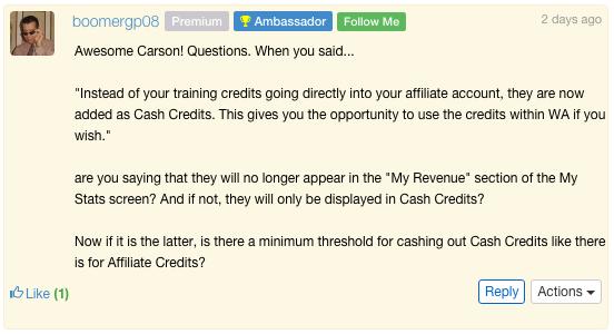 Wealthy Affiliate Credit System - Concern 3