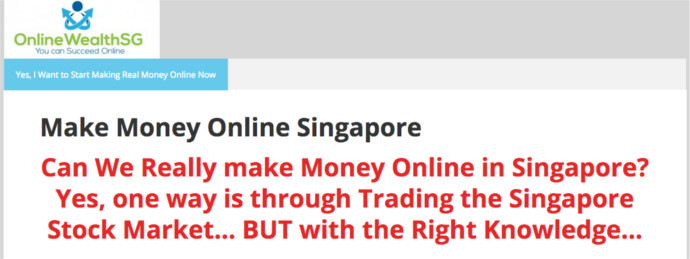 OnlineWealthSG Review - Landing Page